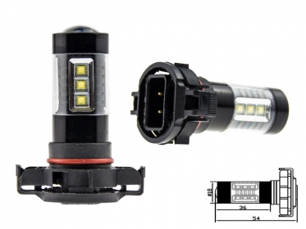 2x h16 ps19w 80 watt led leuchtmittel mit osram chip leds. Black Bedroom Furniture Sets. Home Design Ideas