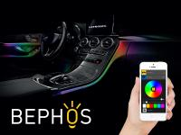 Mobile Preview: BEPHOS RGB LED Ambientebeleuchtung 4er Set 6 Meter mit Bluetooth App Steuerung