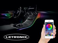 Mobile Preview: LETRONIX RGB LED Ambientebeleuchtung 6er Set 8 Meter mit Bluetooth App Steuerung