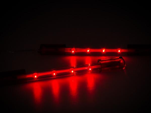 led fu raumbeleuchtung 2x 10cm r hren rot zubeh r. Black Bedroom Furniture Sets. Home Design Ideas