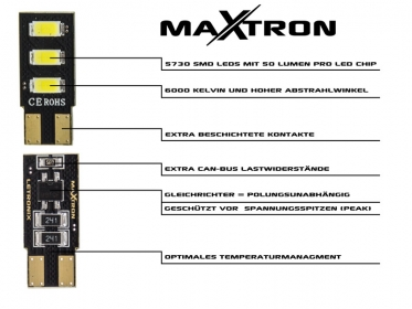 MaXtron® 3x SMD 5730 CAN-Bus LED Soffitte 36mm 150LM C5W Sockel 12 Volt