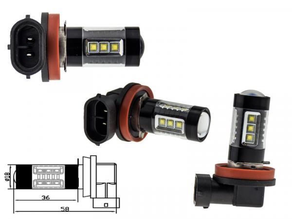 2x h11 80 watt led leuchtmittel mit osram chip leds. Black Bedroom Furniture Sets. Home Design Ideas