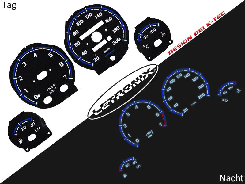 LETRONIX Plasma Tacho Tachoscheiben f/ür Auto Corsa B Tigra 1 0-200Km//h 7000U//Min