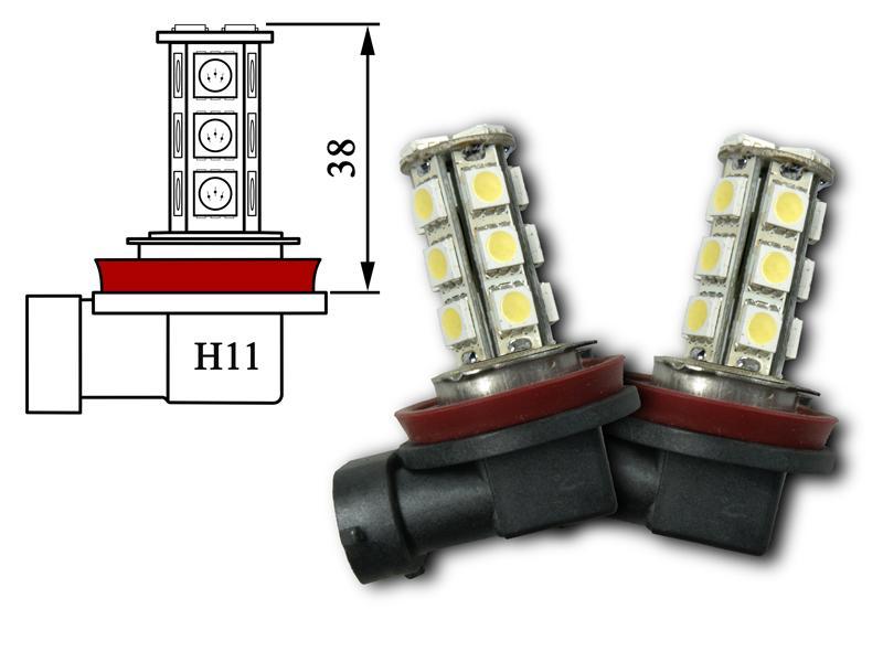 2x h11 18x 5050 smd leds leuchtmittel xenon wei 6000k. Black Bedroom Furniture Sets. Home Design Ideas