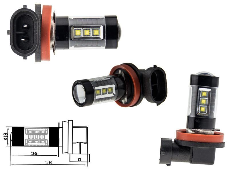 2x h8 80 watt led leuchtmittel mit osram chip leds. Black Bedroom Furniture Sets. Home Design Ideas