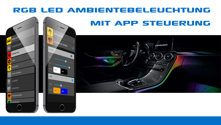 BEPHOS® RGB LED Innenraumbeleuchtung Audi A3 8L VFL APP Steuerung